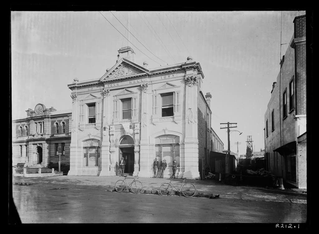 The Robinson Collection, DCC Permanent Collection Hume Pipe Co. — Laying Sewerage Pipes Beside Town Hall and Courthouse 1933 Devonport