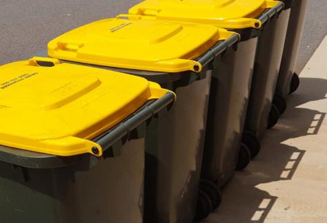 Yellow Lid Recycle Bin