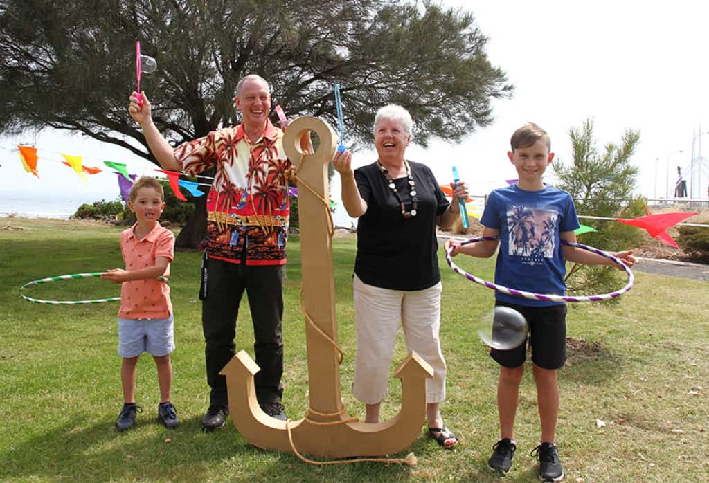 Getting into the New Years Eve spiriit are from left Connor Mitchell 5 Cr Gerard Ennis Mayor Cr Annette Rockliff and Flynn Mitchell 9