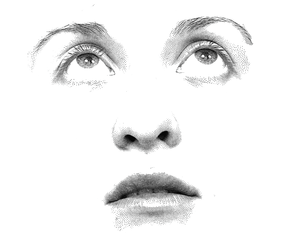A Stippled face