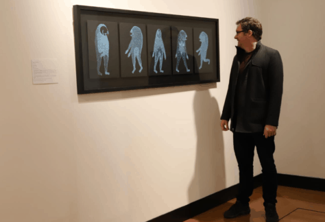 paranaple arts centre director, Geoff Dobson, looks at the 2014 tidal winning work Galaxias by Joel Crosswell. The artwork hangs on a wall. It is 5 pieces within a frame, each A4 size of black background, each piece has an alien like creature painted in blue, each creature has a fish shaped head.