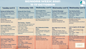 Seniors Week 2021 Calendar Page 2