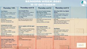 Seniors Week 2021 Calendar Page 3