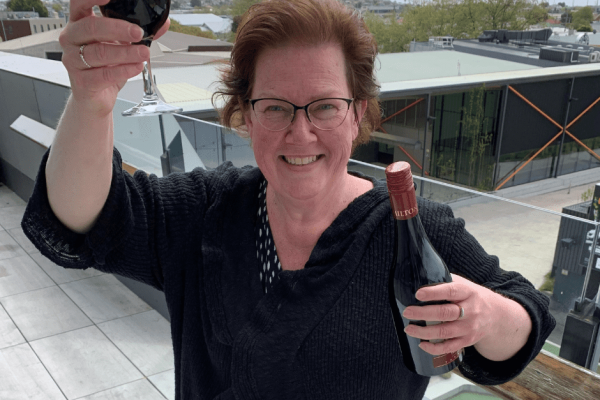 Holding up a glass of red wine to celebrate this year's Devonport Food & Wine event is Devonport City Council Events Coordinator Maree Brodzinski.