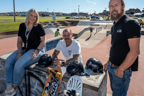 Gearing up for the Skate, Scooter and BMX competition are the council's Nikita Hillier, Drop in Skate School's Arron Crawford and YFCC's Damian Collins.